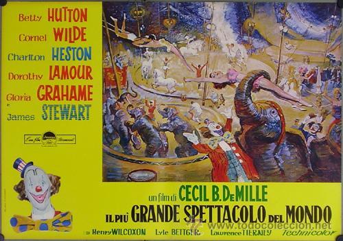 Cine: DW74D EL MAYOR ESPECTACULO DEL MUNDO CHARLTON HESTON CIRCO SET DE 12 POSTERS ORIGINAL ITALIANO 47X68 - Foto 6 - 32082845