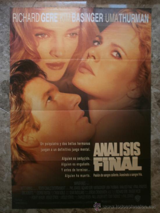 ANALISIS FINAL. RICHARD GERE, KIM BASINGER, UMA THURMAN. AÑO 1992 (Cine - Posters y Carteles - Suspense)