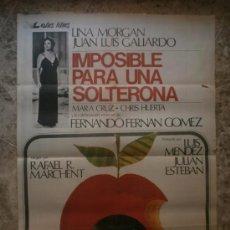 Cine: IMPOSIBLE PARA UNA SOLTERONA. LINA MORGAN, JUAN LUIS GALIARDO. AÑO 1975.. Lote 32340863