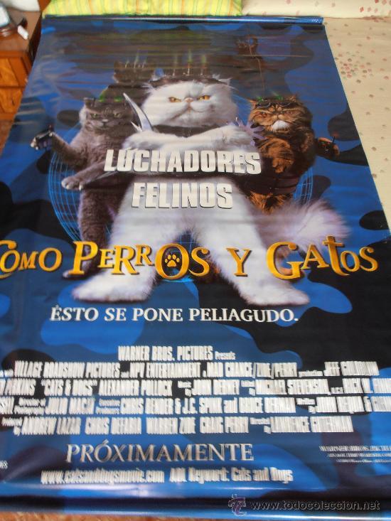 COMO PERROS Y GATOS,¡¡¡¡OJO!!!! CARTEL GIGANTE DE TELA/LONA/PLASTICO DE 180X120 CM APROX(116) (Cine - Posters y Carteles - Infantil)