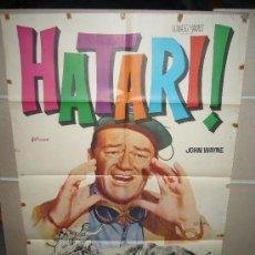 Cine: HATARI JOHN WAYNE POSTER ORIGINAL 70X100 YY POSIBILIDAD DE BLU RAY CON EL DOBLAJE DE CINE. Lote 32527542