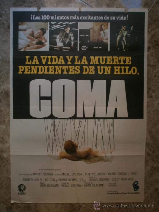 COMA. MICHAEL DOUGLAS, GENEVIEVE BUJOLD. (Cine - Posters y Carteles - Suspense)