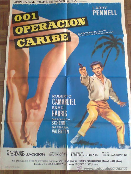 001 OPERACIÓN CARIBE. POSTER ESTRENO 100X70. EUROSPY. (Cine - Posters y Carteles - Acción)