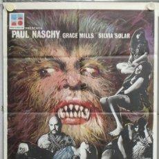 Cine: PE10 LA MALDICION DE LA BESTIA PAUL NASCHY POSTER ORIGINAL 70X100 DEL ESTRENO. Lote 32572690