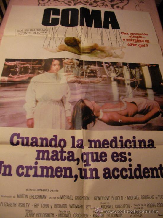 ANTIGUO CARTEL ORIGINAL DE PELICULA - COMA - GENEVIEVE BUJOLD Y MICHAEL DOUGLAS (Cine - Posters y Carteles - Suspense)