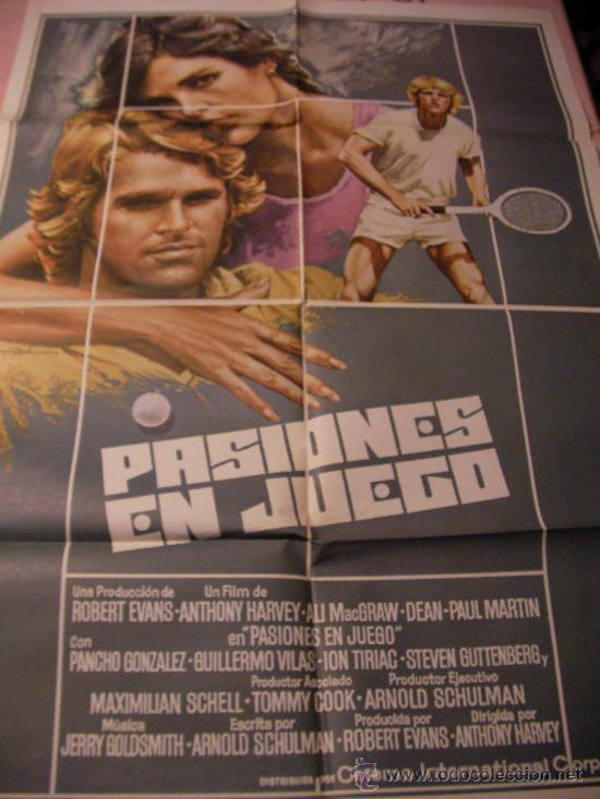 ANTIGUO CARTEL ORIGINAL DE PELICULA - PASIONES EN JUEGO - PANCHO GONZALES - GUILLERMO VILAS - ION TI (Cine - Posters y Carteles - Deportes)