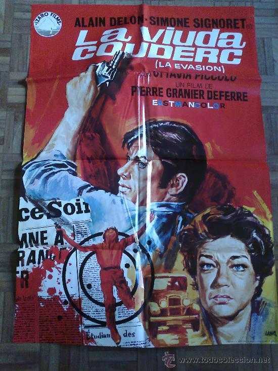 LA VIUDA COUDERC. POSTER ESTRENO 100X70. JANO. ALAIN DELON, SIMONE SIGNORET (Cine - Posters y Carteles - Acción)