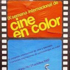 Cinema: CARTEL SEMANA INTERNACIONAL DEL CINE EN COLOR. PUBLIARTIGAS. 1967. 71X67. BCN. Lote 33223630