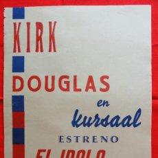 Cine: EL ÍDOLO DE BARRO, KIRK DOUGLAS, CARTELITO LOCAL (41X32) AÑOS 50 ESTRENO CINE KURSAAL. Lote 33238709