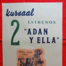 Cine: EXTRAÑA AVENTURA, ADAN Y ELLA, VERA RALSTON, S. GRANGERS, CARTELITO LOCAL(45X32) CINE KURSAAL. Lote 33253791