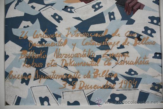 Cine: CARTEL ORIGINAL, TÉCNICA MIXTA SOBRE TABLEX, BILBAO 1984. 26 CERTAMEN INTERNACIONAL DE CINE. - Foto 7 - 33308439