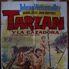 Cine: TARZÁN Y LA CAZADORA, CON JOHNNY WEISSMULLER. POSTER.. Lote 34065736