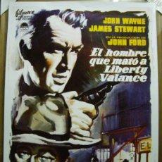 Cine: EL HOMBRE QUE MATÓ A LIBERTY VALANCE, CON JOHN WAYNE. POSTER-REPRODUCCIÓN. 68 X 98 CMS... Lote 269815988