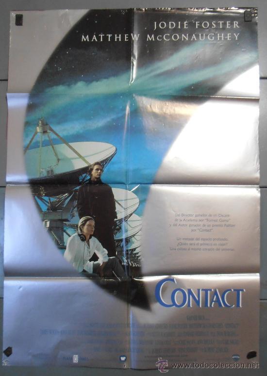 CONTAC,JUDIE FOSTER CARTEL DE CINE ORIGINAL 70X100 APROX (3459) (Cine - Posters y Carteles - Ciencia Ficción)