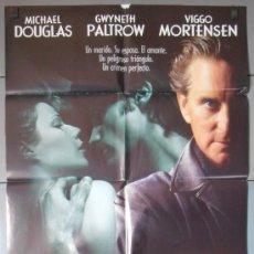 Cine: UN CRIMEN PERFECTO,MICHAEL DOUGLAS CARTEL DE CINE ORIGINAL 70X100 APROX (3507). Lote 34131434