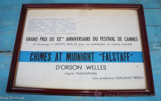 POSTER DIPLOMA GRAN PREMIO DEL XX FESTIVAL DE CANNES - ORSON WELLES POR CAMPANAS DE MEDIANOCHE - (Cine- Posters y Carteles - Drama)