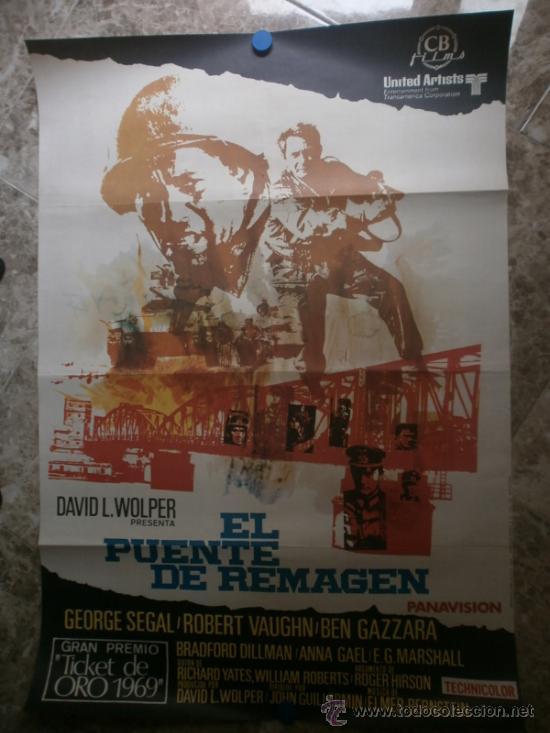 EL PUENTE DE REMAGEN. GEORGE SEGAL, ROBERT VAUGHN, BEN GAZZARA. AÑO 1970. (Cine - Posters y Carteles - Bélicas)