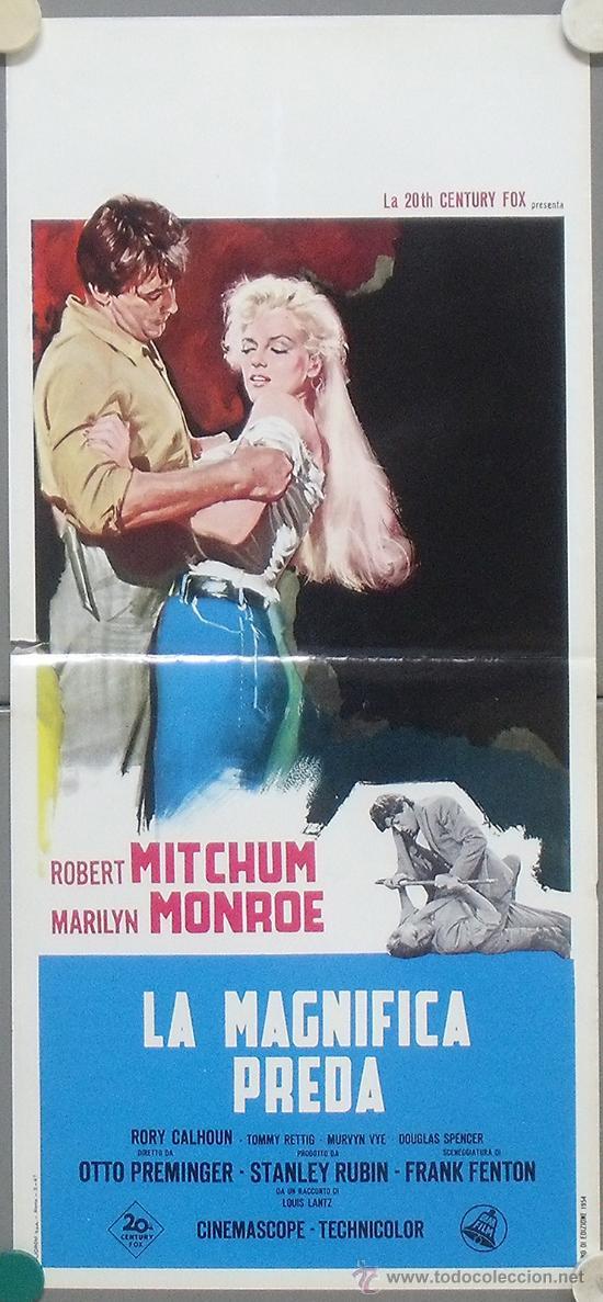 QC84D RIO SIN RETORNO MARILYN MONROE POSTER ORIGINAL ITALIANO 33X70 (Cine - Posters y Carteles - Westerns)
