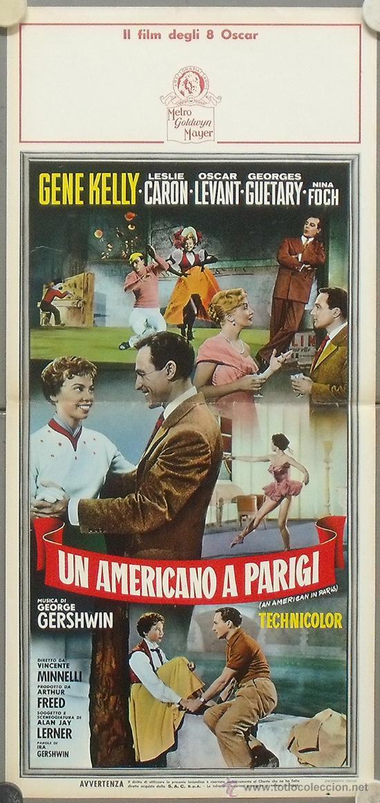 YF63D UN AMERICANO EN PARIS GENE KELLY LESLIE CARON MINNELLI POSTER ORIGINAL ITALIANO 33X70 (Cine - Posters y Carteles - Musicales)