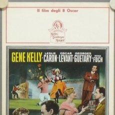 Cine: YF63D UN AMERICANO EN PARIS GENE KELLY LESLIE CARON MINNELLI POSTER ORIGINAL ITALIANO 33X70. Lote 34435663