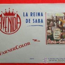 Cine: LA REINA DE SABA, GINO CERVI LEONORA RUFFO, CARTELITO LOCAL AÑOS 50, (45X32) CINE AVENIDA REUS. Lote 34360740