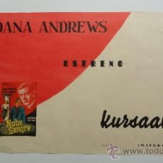 Cine: NUBE DE SANGRE, CARTELITO LOCAL AÑOS 50 (45X32) DANA ANDREWS, CINE KURSAAL REUS. Lote 34360874