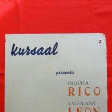 Cine: CURRA VELETA, CARTELITO LOCAL AÑOS 50 (45X32), PAQUITA RICO VALERIANO LEON, CINE KURSAAL REUS. Lote 34361124