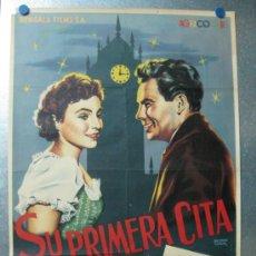 Cine: SU PRIMERA CITA - OFSSET - ILUSTR.: BALONGA CASSAR - AÑOS 1950 - ADRIAN HOVEN, NICOLE HEESTERS. Lote 35447456