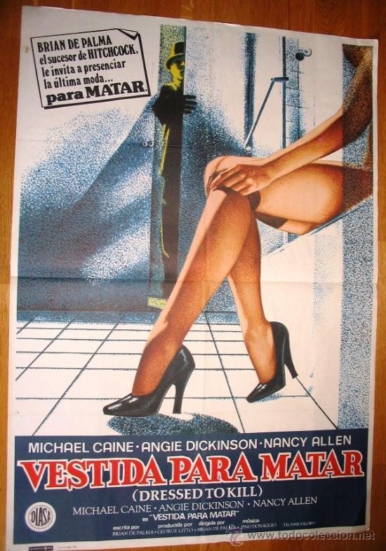 POSTER ORIGINAL ESPAÑOL - VESTIDA PARA MATAR - MICHAEL CAINE - ANGIE DICKINSON - BRIAN DE PALMA (Cine - Posters y Carteles - Suspense)