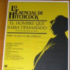 Cine: POSTER ORIGINAL ESPAÑOL - EL HOMBRE QUE SABIA DEMASIADO - LO ESENCIAL DE HITCHCOCK - JAMES STEWART. Lote 35867916