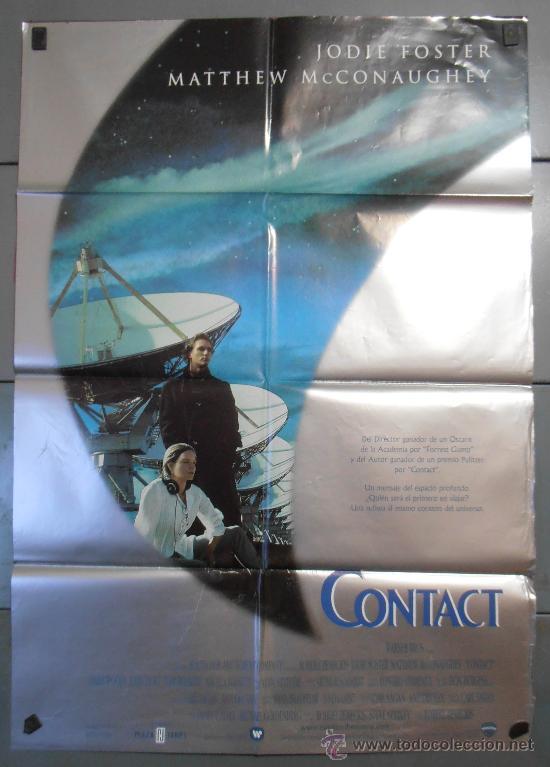 CONTAC,JUDIE FOSTER CARTEL DE CINE ORIGINAL 70X100 APROX (3460) (Cine - Posters y Carteles - Ciencia Ficción)