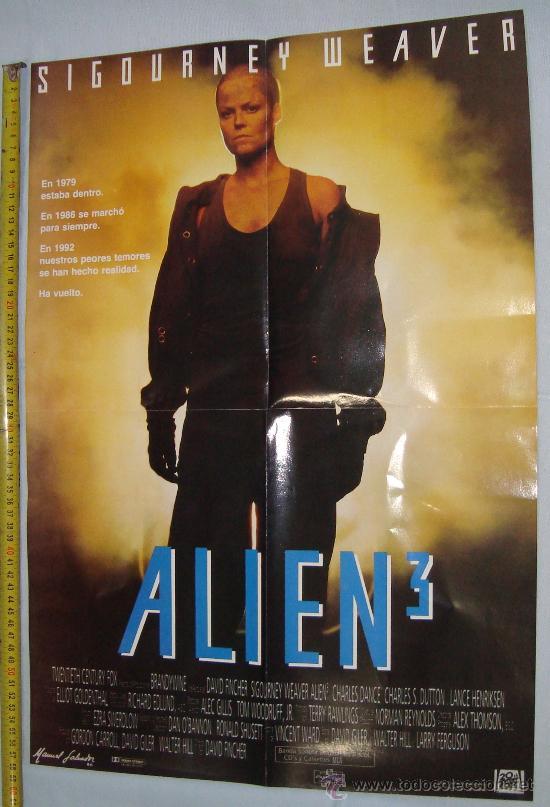 POSTER PELICULA Y ACTRIS - ALIEN 3 Y SIGOURNEY WEAVER, 56 X 40 CM (Cine - Posters y Carteles - Terror)