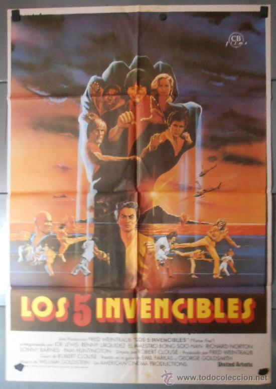 LOS 5 INVENCIBLES, CARTEL DE CINE ORIGINAL 70X100 APROX (8869) (Cine - Posters y Carteles - Acción)