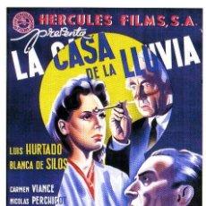 Cine: LA CASA DE LA LLUVIA.- BLANCA DE SILOS.- ORIGINAL DE LÓPEZ RUBIO.- 100X70 CM. LITOGRAFIA.. Lote 36058822