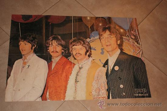 POSTE DE POP THE BEATLES MIDE 83X56 ORIGINAL DE EPOCA AÑO 1960-1970 (Cine - Posters y Carteles - Musicales)