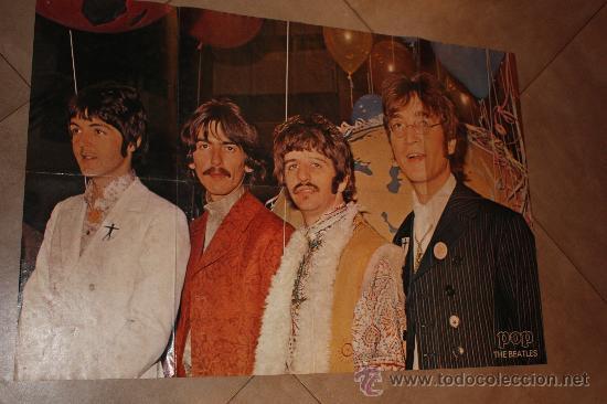 Cine: POSTE DE POP THE BEATLES MIDE 83X56 ORIGINAL DE EPOCA AÑO 1960-1970 - Foto 4 - 36129888