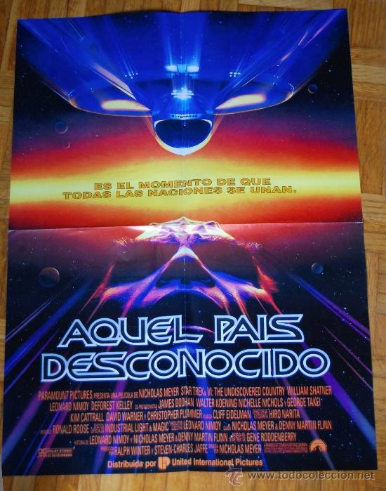 POSTER DE LA PELICULA AQUEL PAIS DESCONOCIDO STAR TREK VI MEDIDAS 56X42 PRACTICAMENTE NUEVO (Cine - Posters y Carteles - Ciencia Ficción)