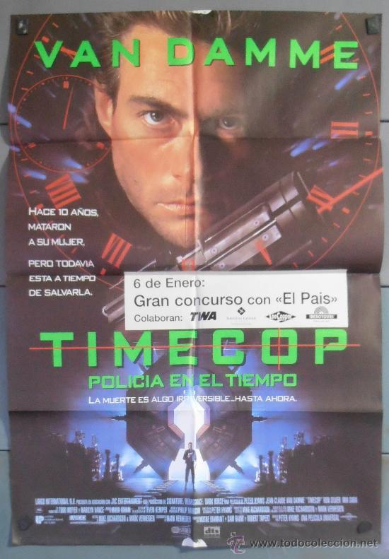 TIMECOP,VAN DAMME CARTEL DE CINE ORIGINAL 70X100 APROX (4938) (Cine - Posters y Carteles - Acción)