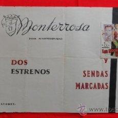 Cine: LAS NOCHES DE IRENE, SENDAS MARCADAS, CARTELITO LOCAL AÑOS 40/50 (45X32), CINE MONTERROSA REUS. Lote 36579143