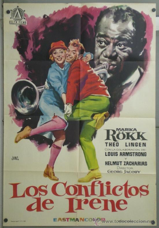 RN84 LOS CONFLICTOS DE IRENE LOUIS ARMSTRONG MARIKA ROKK POSTER ORIGINAL 70X100 ESTRENO (Cine - Posters y Carteles - Musicales)
