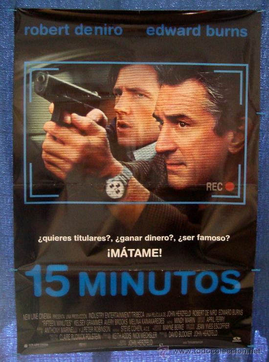 POSTER ORIGINAL DE LA PELICULA, 15 MINUTOS, AÑO 2001, 700MM X 1000MM APROX. (Cine - Posters y Carteles - Acción)