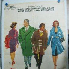Cine: PADRES E HIJOS - VITTORIO DE SICA, MARCELLO MASTROIANNI, LITOGRAFIA, ILUSTRADOR: JANO - AÑO 1957. Lote 36924640