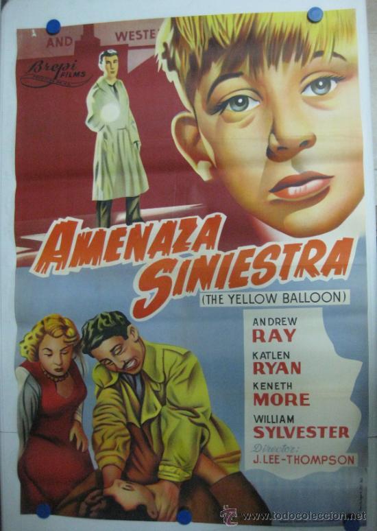 AMENAZA SINIESTRA - ANDREW RAY, KATLEN RYAN, KENETH MORE - LITOGRAFIA - AÑO 1961 (Cine- Posters y Carteles - Drama)