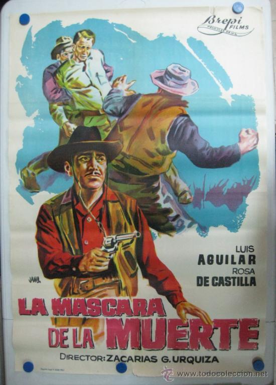 LA MASCARA DE LA MUERTE - LUIS AGUILAR, ROSA DE CASTILLA - LITOGRAFIA - AÑO 1965 (Cine - Posters y Carteles - Westerns)