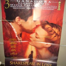 Cine: SHAKESPEARE IN LOVE GWYNETH PALTROW JOSEPH FIENNES POSTER ORIGINAL 70X100 YY(469). Lote 37002538