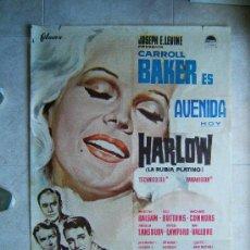 Cine: HARLOW-LA RUBIA PLATINO-GORDON DOUGLAS-CARROLL BAKER-MARTIN BALSAM-POSTER DE MCP99X69CM-1965-ESTRENO. Lote 37050897