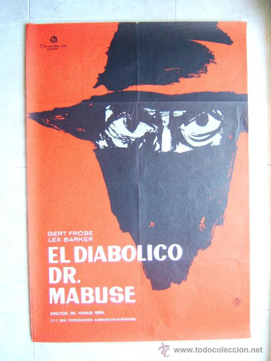 EL DIABOLICO DR. MABUSE-DR. HARALD REINL-GERT FROBE-LEX BARKER-POSTER 96X67CM-1963-ESTRENO EN ESPAÑA (Cine - Posters y Carteles - Terror)