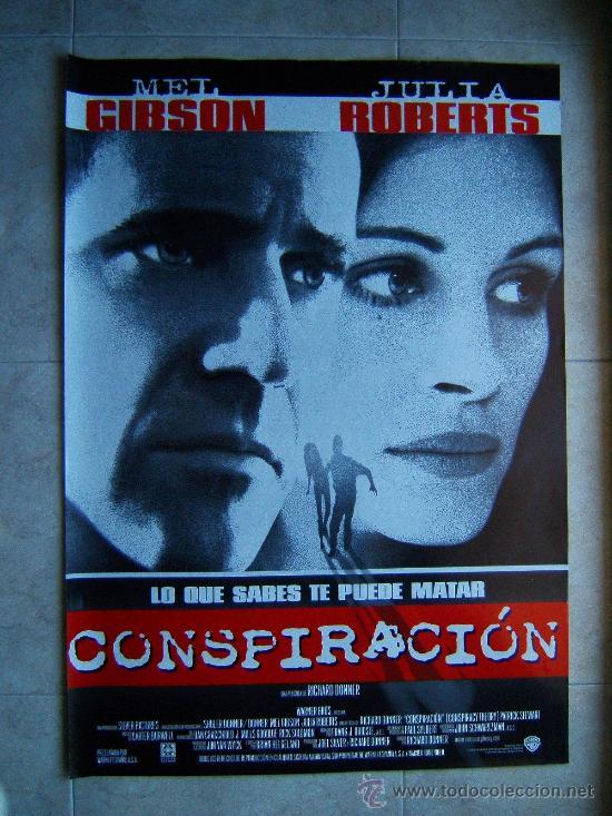 CONSPIRACION-RICHARD DONNER-MEL GIBSON-JULIA ROBERTS-POSTER SIN DOBLECES-100X66CM-1997-ESTRENO. (Cine - Posters y Carteles - Suspense)