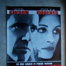 Cine: CONSPIRACION-RICHARD DONNER-MEL GIBSON-JULIA ROBERTS-POSTER SIN DOBLECES-100X66CM-1997-ESTRENO.. Lote 37053576