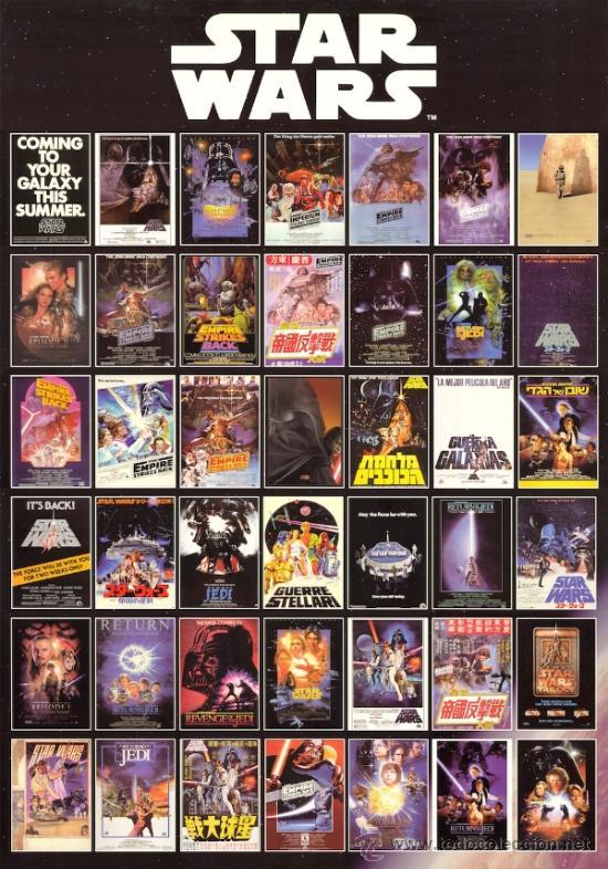 CUADRO CARTEL DE CINE. STAR WARS RECOPILATORIO. EN MADERA. MURAL 100X70 CM. RARO (Cine - Posters y Carteles - Ciencia Ficción)